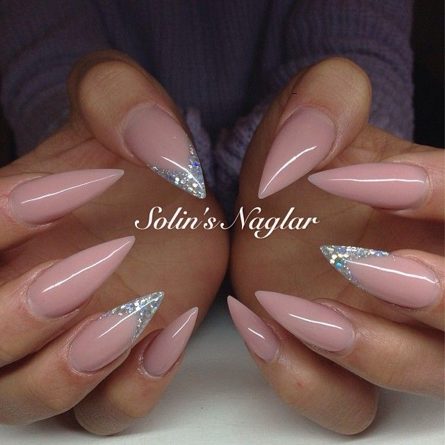 Solinsnaglar Instagrin Pink Nails With Glitter Pinknails Glitternails Pointy