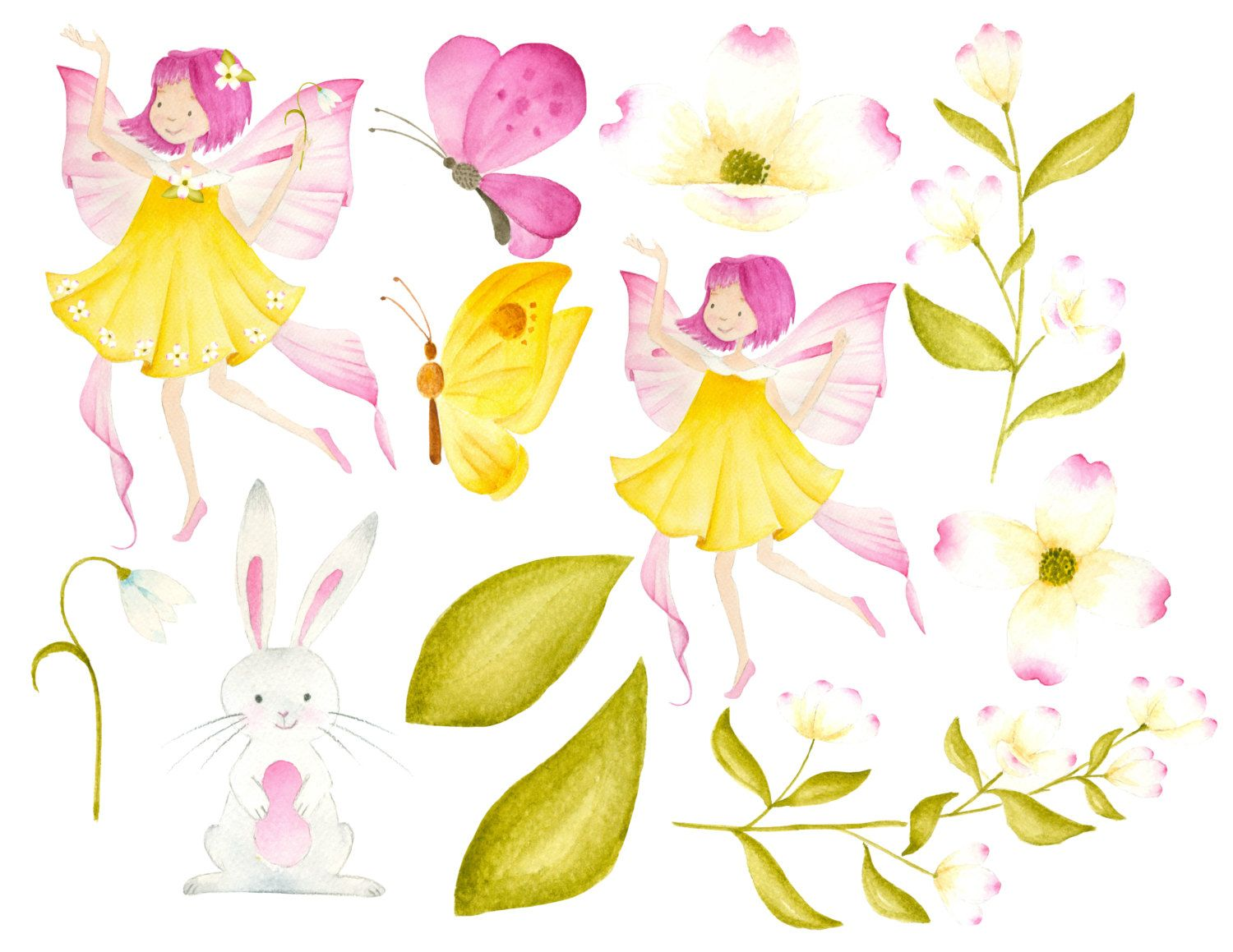 Spring Fairy Clipart Fairy Illustration Spring Clipart Watercolor