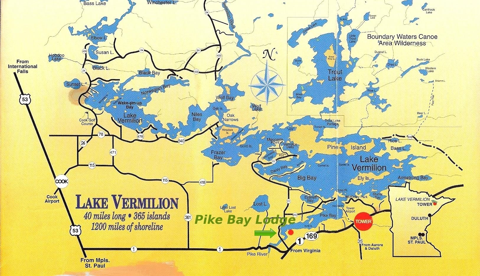 Vermillion Map Lake Vermilion Resort Pike Bay Lodge Lake