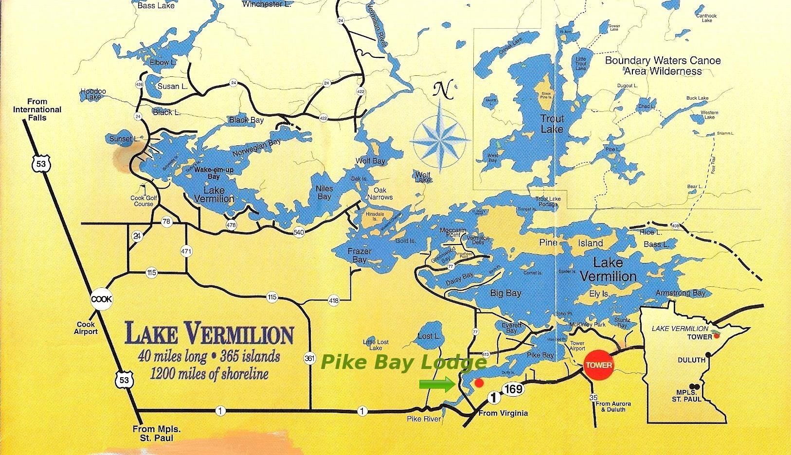 Vermillion map lake vermilion resort pike bay lodge for Minnesota fishing cabins