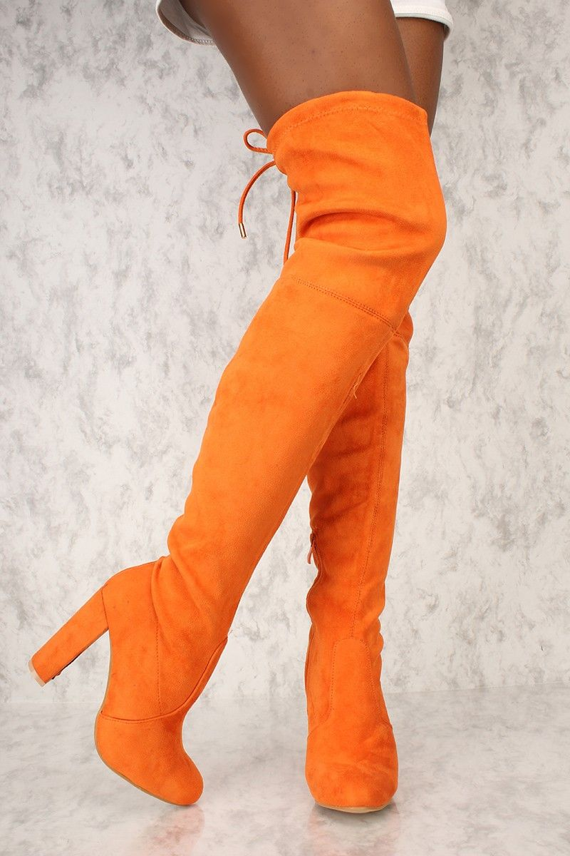 0701c87ff28 Orange Round Pointy Toe Thigh High Boots Single Sole Chunky Heel Suede