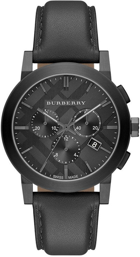 burberry leather strap chrono watch 42mm