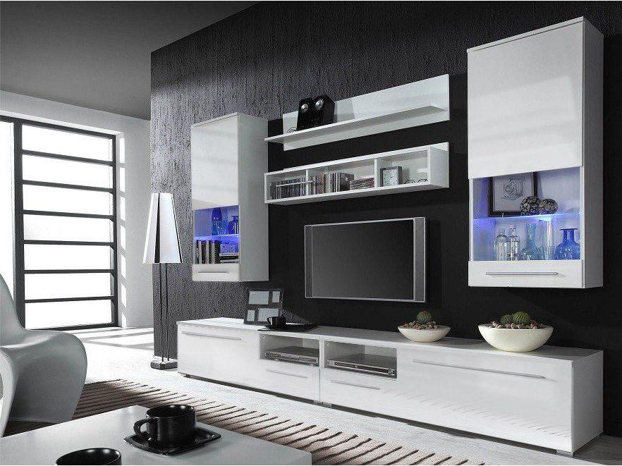 Kansas 5 White entertainment center Modern wall units Living