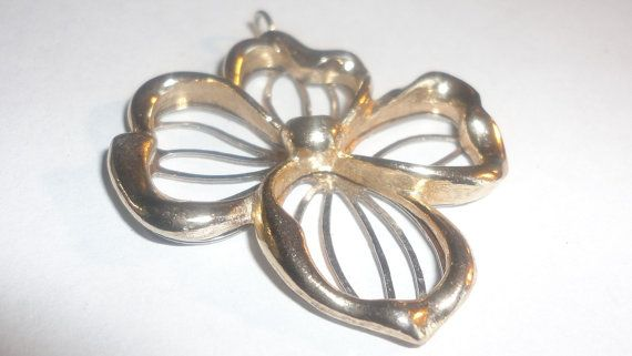 Gold tone Floral Avon pendant charm by PatsapearlsBoutique on Etsy, $9.99