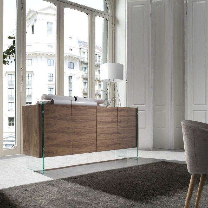 buffet contemporain bois plaqu noyer et cot s verre tremp roka table manger pinterest. Black Bedroom Furniture Sets. Home Design Ideas