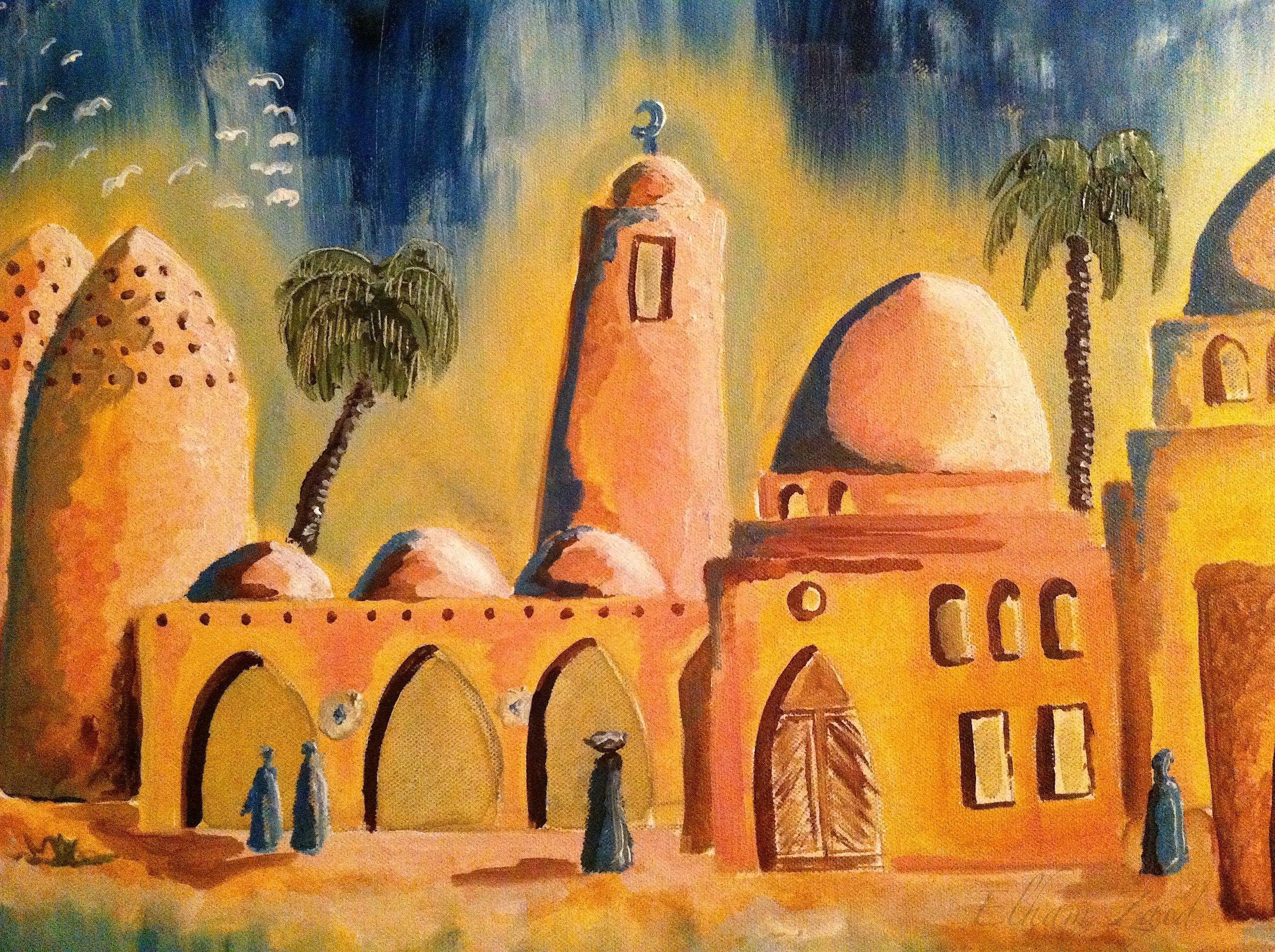 My Painting Quot Pigeons Village Quot Detail Elham Zaid