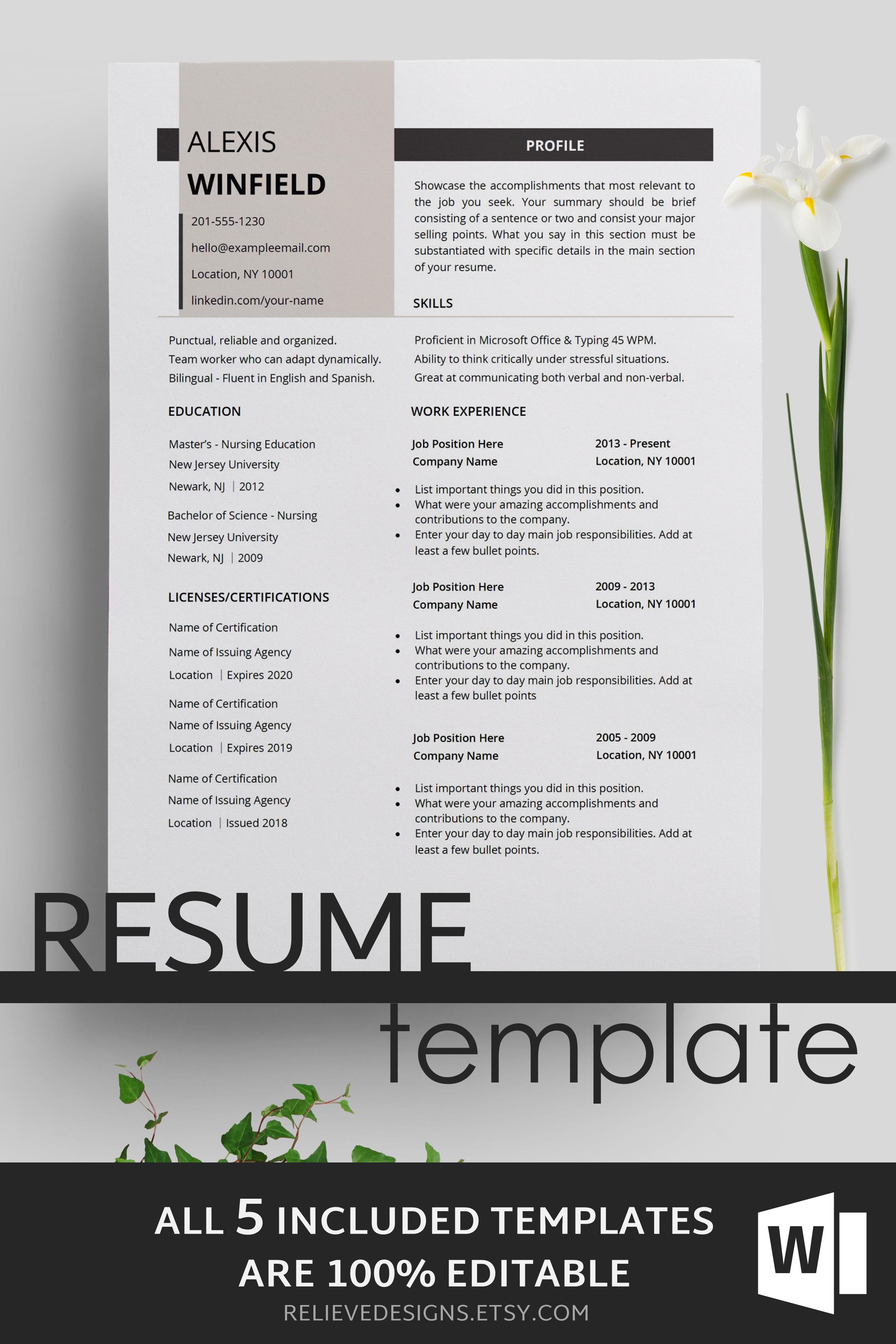 Resume Template, CV Template, CV Design. Creative