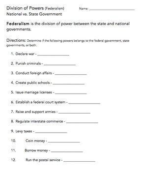 Division of Power (Federalism) Worksheet | Civics | Worksheets, Division
