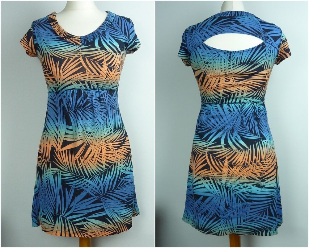 Fat face micro mini dress long top size leaf print orange