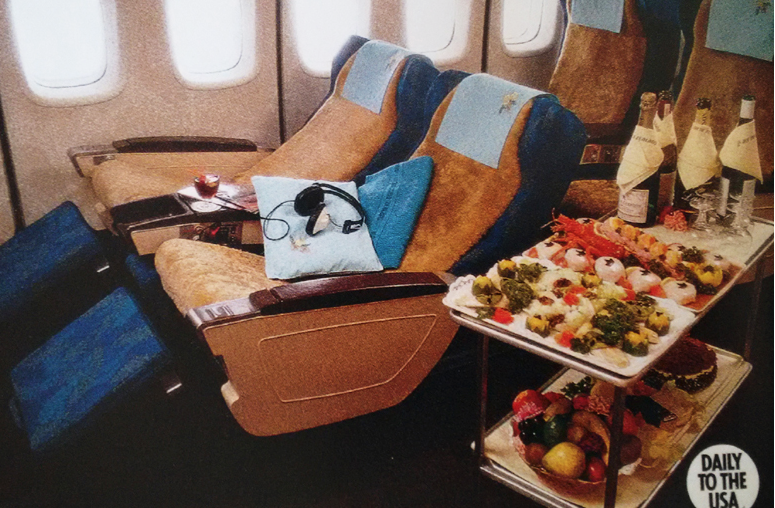 First class service on board of a DC8 jet, 1960s. © Air