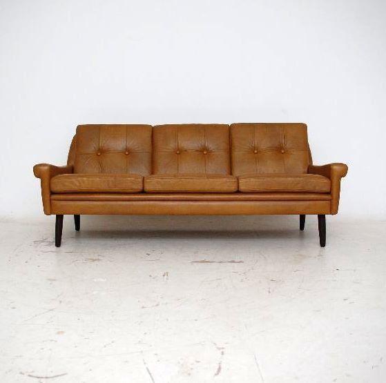 Retro Danish Leather Sofa Vintage 1960 S