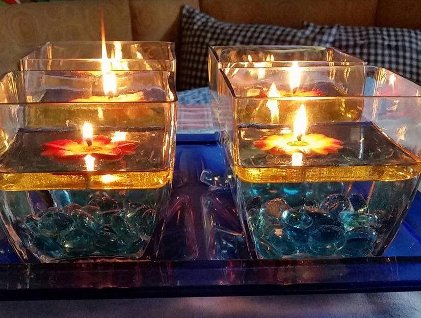 Kerzen Dekoration Mit Der Erfurter Feuerblume Einem