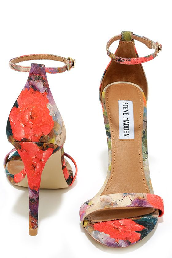 5a01bf81682 Steve Madden Stecy Floral Coral Ankle Strap Heels | Shoe Collection ...
