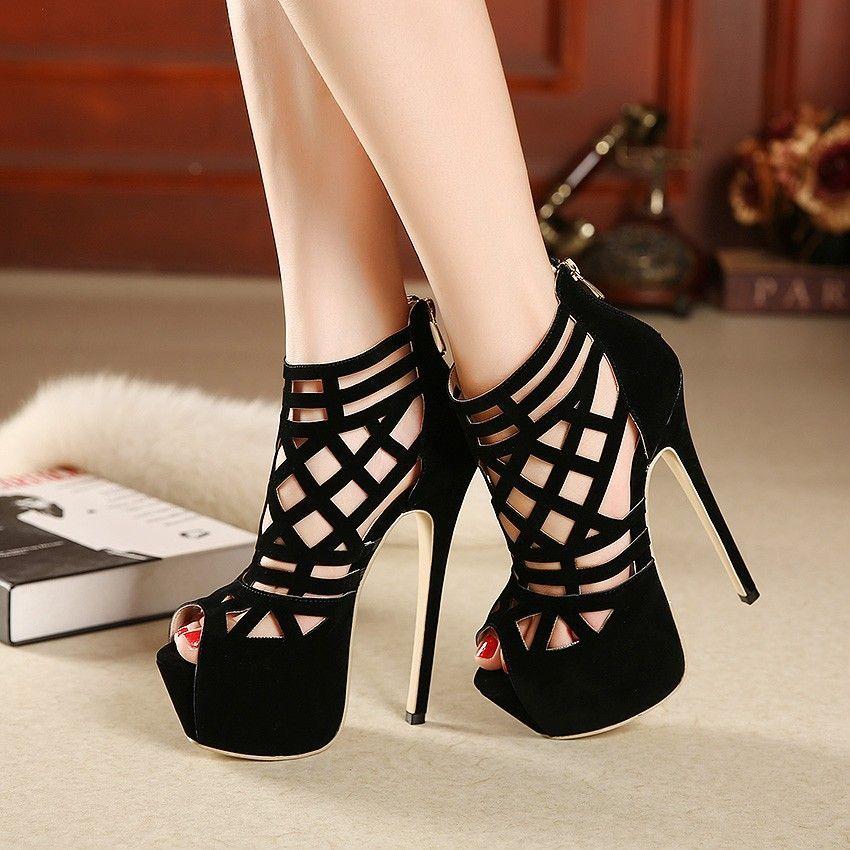 Details about  /Sexy Women Rivets Strappy Open Toe Hollow Out Stilettos High Heel Sandals Shoes