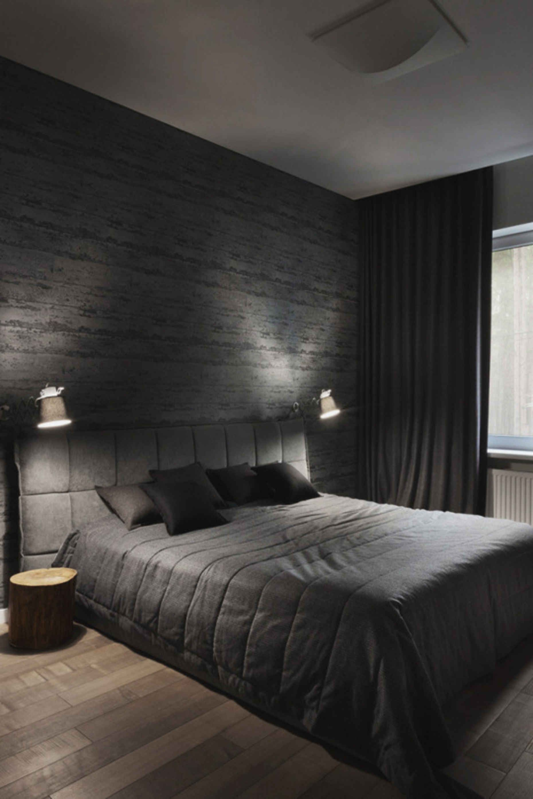 14 Awesome Designs Of How To Make Modern Mens Bedroom Black Room Decor Black Bedroom Decor Black And Grey Bedroom