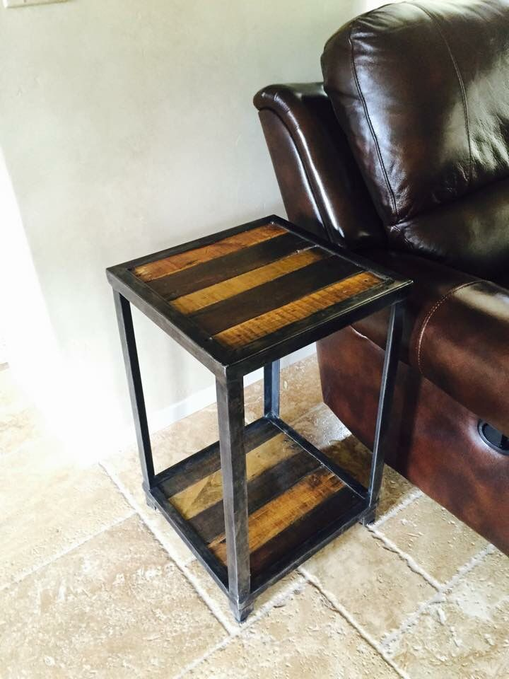 End Table I Made From Pallets And Angle Iron Wood Was