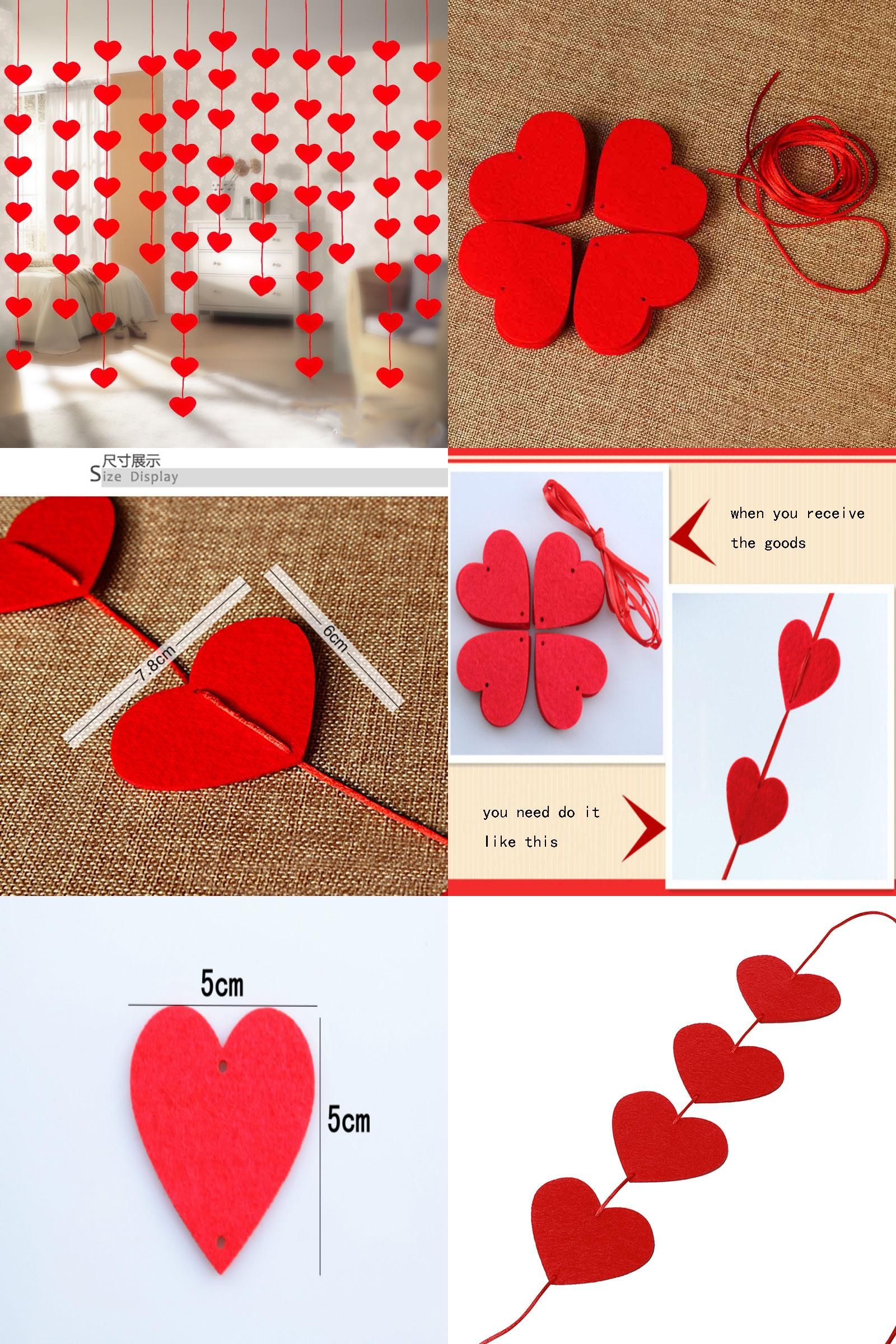 [Visit to Buy] 16 Hearts Love Heart Curtain Romantic Valentine Hearts Ornaments Non-woven Garland For Home Wedding Party Decoration 8Z