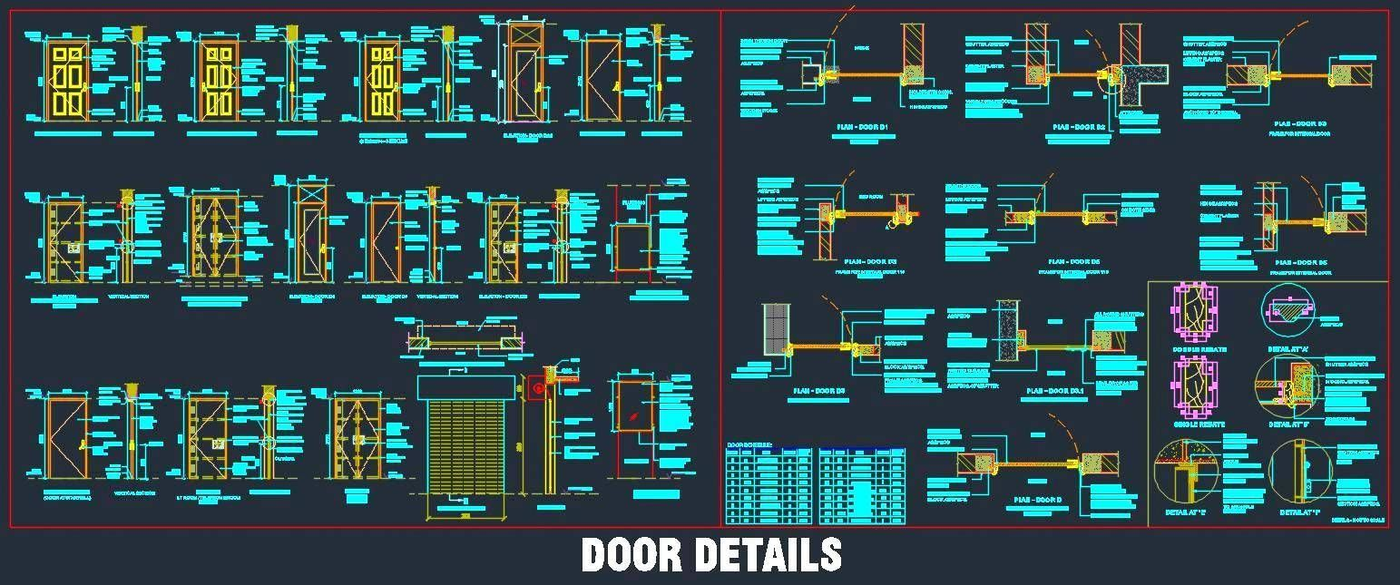 Various Door Designs and Construction Detail Autocad drawing of ...