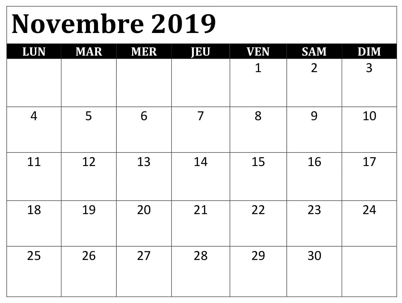 Calendrier Planning 2019.Word Calendrier 2019 Novembre Periodic Table