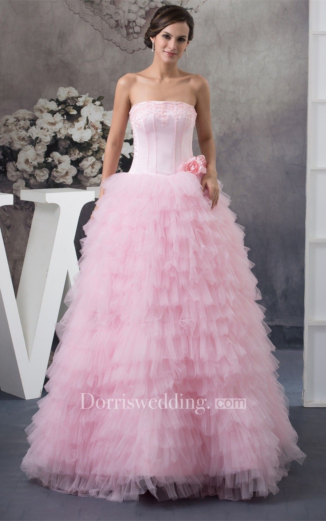 Sleeveless Ruffled Bolero and Ball-Gown With Appliques