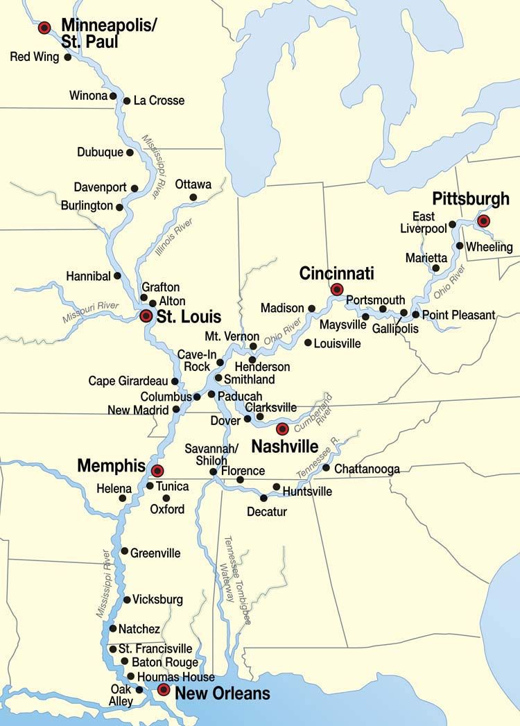 Mississippi River Cruise Map Places Id Like To Go Pinterest - Us map showing mississippi river
