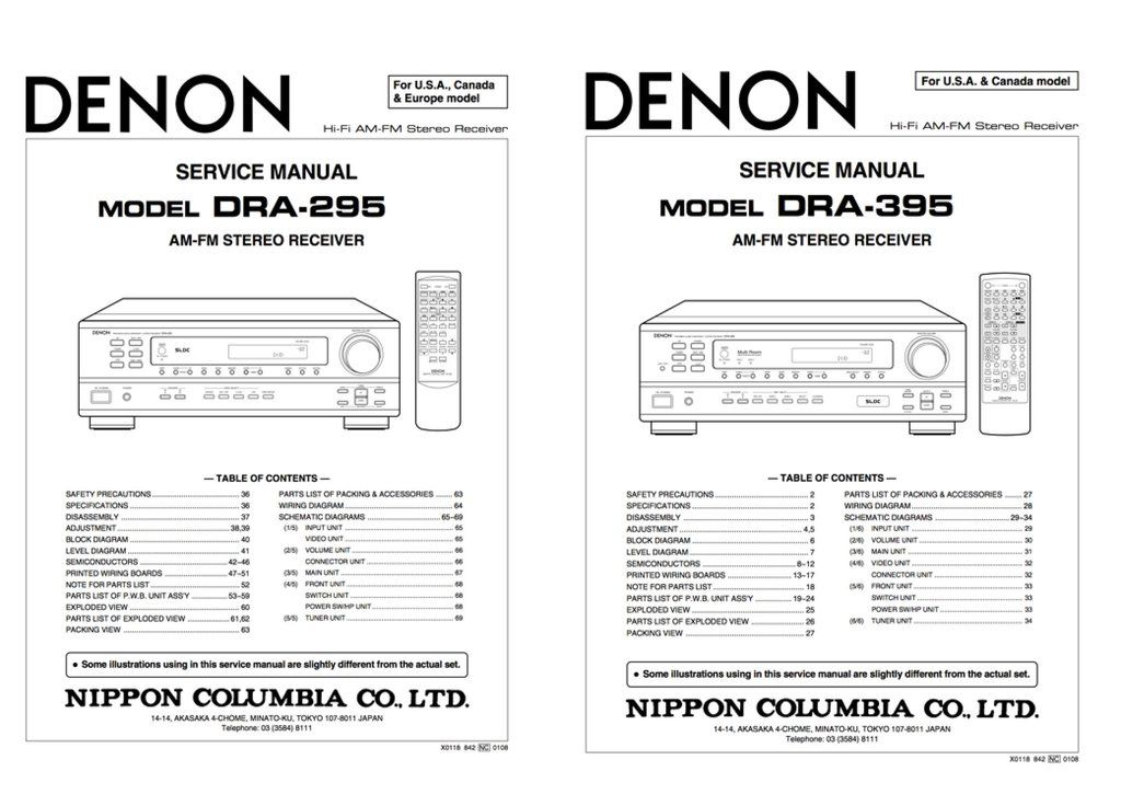 DENON DRA-295 DRA-395 Service Manual Complete Denon Service - operation manual