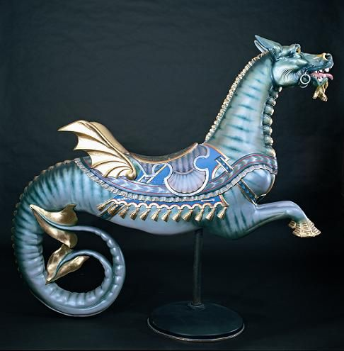 1899 sea monser from a carousel carved by E. Joy Morris of  Philadelphia, PA.  A sea monster is one of the rarest figures found on an American carousel.  Photo courtesy of William Manns.