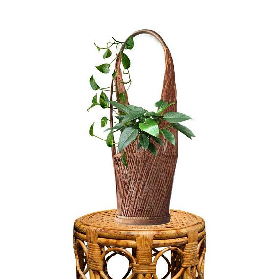 Vintage Tall Woven Basket Hanging Wine 23 Planter Bohemian Decor Hand Br