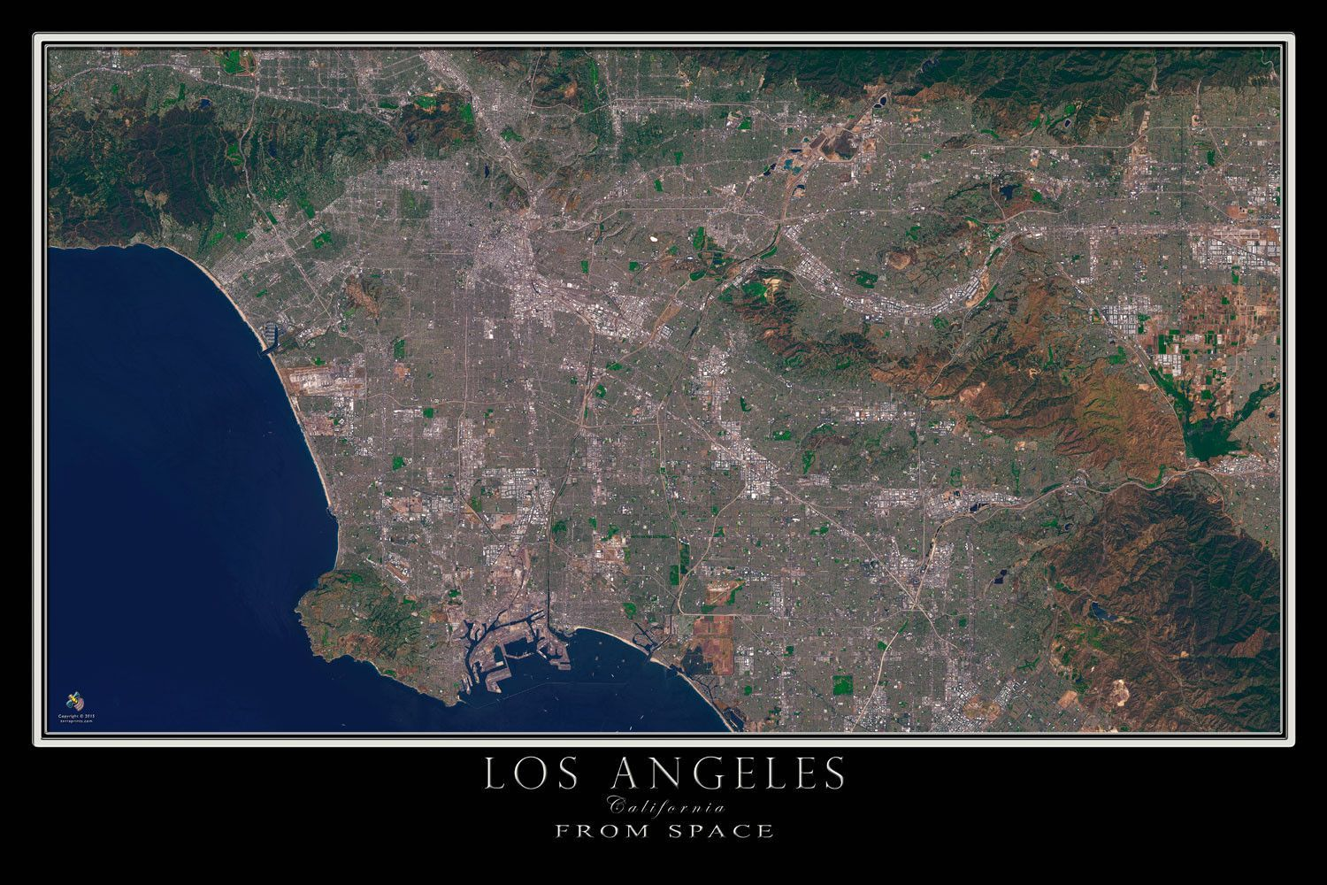 The Los Angeles California Satellite Poster Map in 2019 ... Sattellite Map Of Sea Tac Airport on