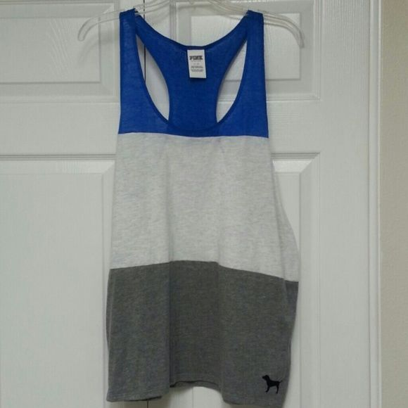 VS PINK Cross Back Tank Size L, worn once or twice, light weight, feels good on, blue, grey and light grey in color... ask me anything! PINK Victoria's Secret Tops Tank Tops