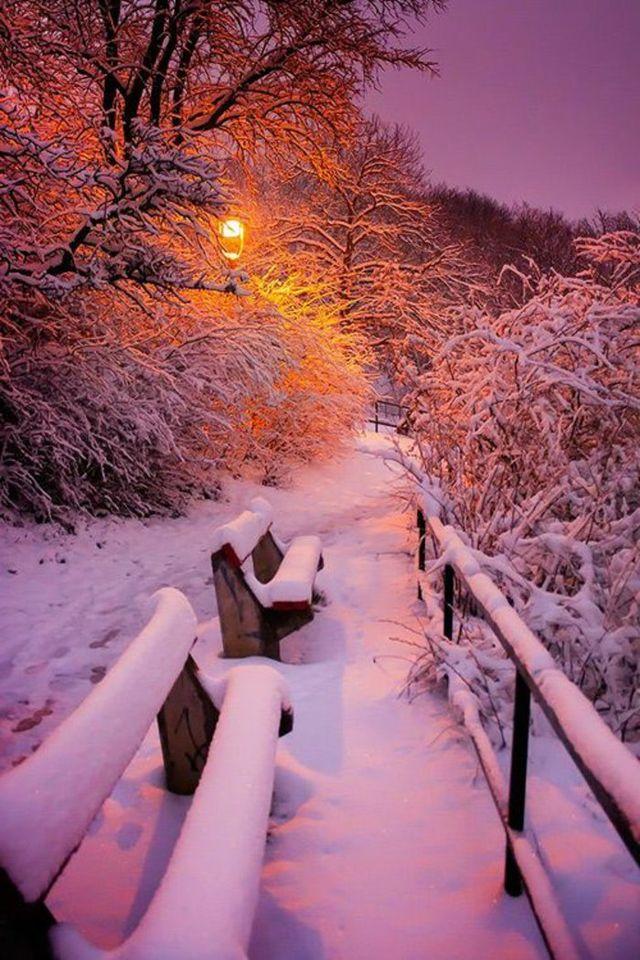 image-fond-d-ecran-gratuit-paysage-wallpaper-neige-soleil-couchant ... Super ... Le paysage d'h ... #fondecranhiver
