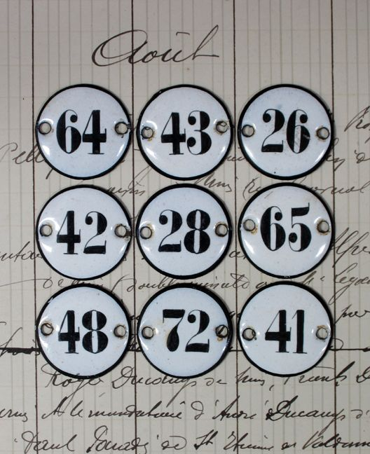 Miniature Antique French Enamel Number Plaques Numbers Typography French Enamel Vintage Scrapbook
