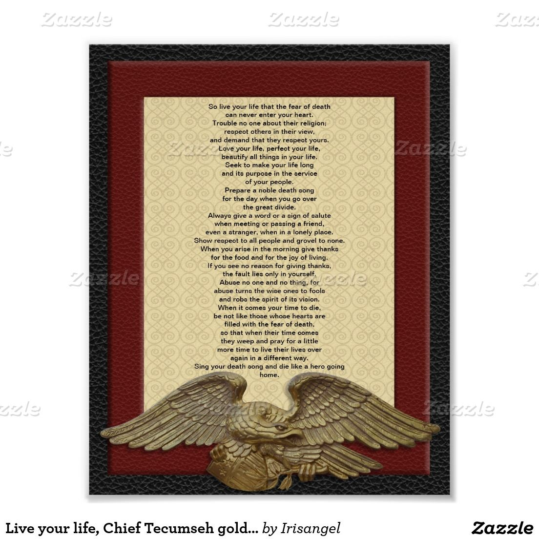 Live your life, Chief Tecumseh gold eagle Print