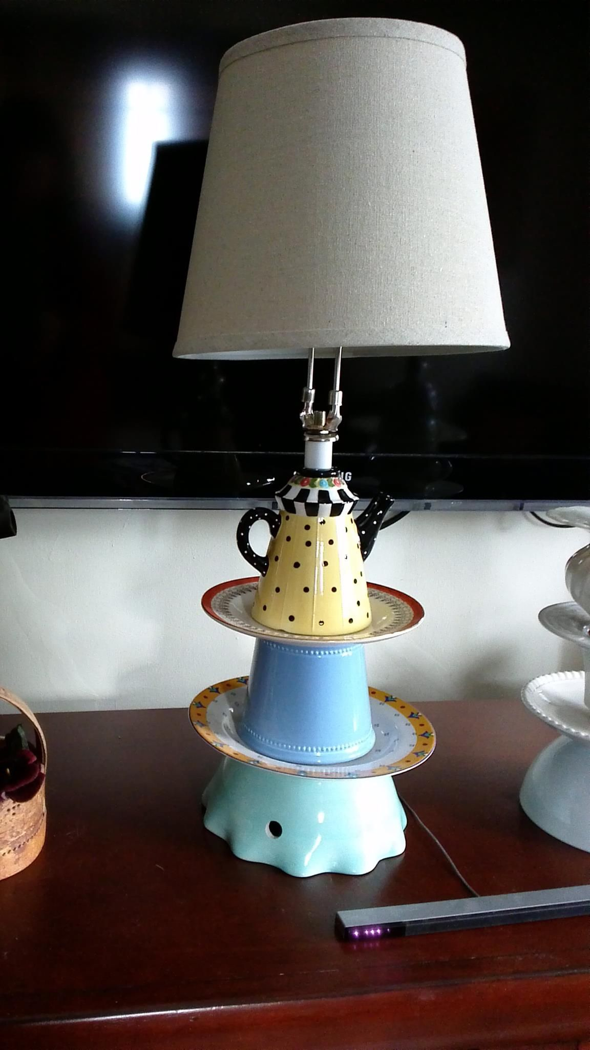 A lamp i made from thrift store objects and assorted lamp parts a lamp i made from thrift store objects and assorted lamp parts mozeypictures Image collections
