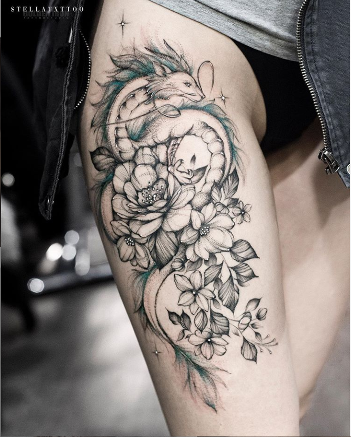 40 Elegant Unique Flower Thigh Tattoos Design For Women