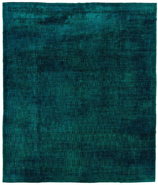 Fabulous deeply intense color overdyed pure wool rug - Alfombra verde agua ...