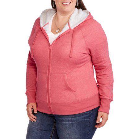 Faded Glory Women's Plus-Size Sherpa Hoodie, Size: 2XL, Green