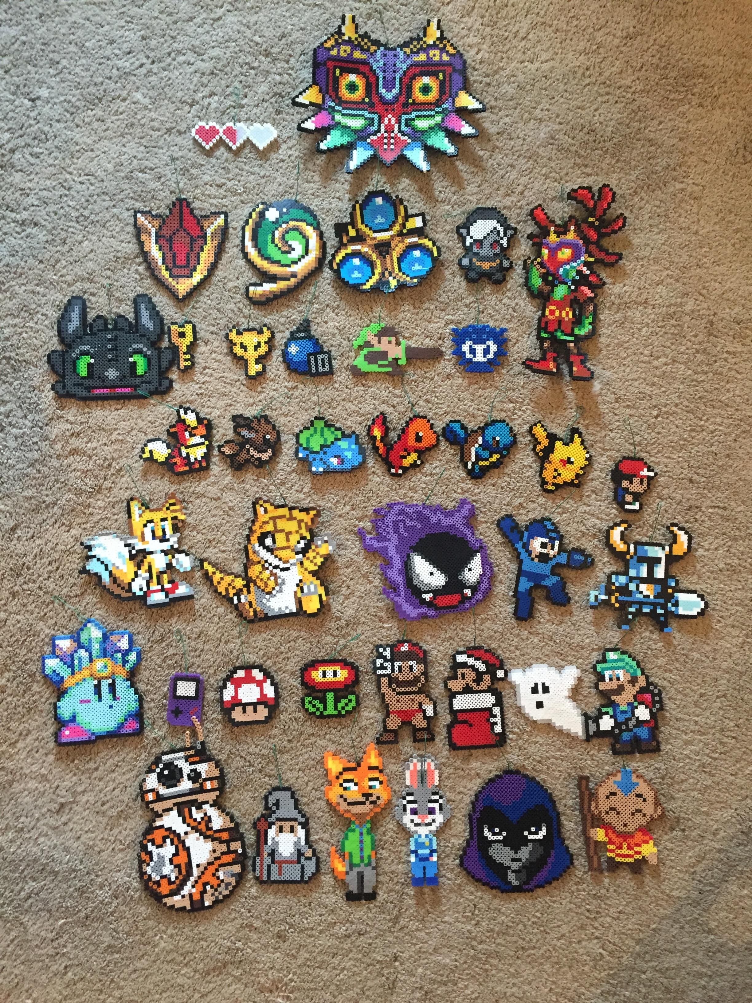 We Made All Our Christmas Ornaments This Year Fun Video Game Characters With A Few Tv And Movies Characters As W Perler Bead Art Perler Beads Designs Bead Art