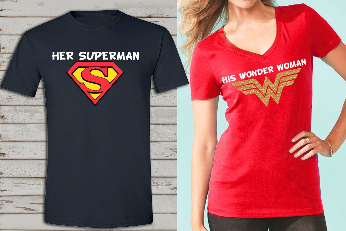 Wonder Woman And Superman Inspired Couple Shirts Birthday T Superhero Family Her His By Saidthecrow On Etsy