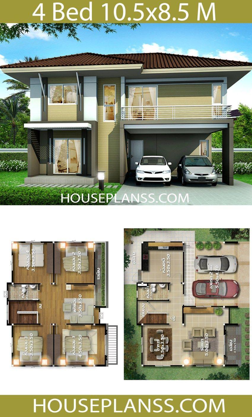 House Plans Idea 10 5x8 5 With 4 Bedrooms House Plans 3d Duplex House Plans Two Story House Design House Architecture Design