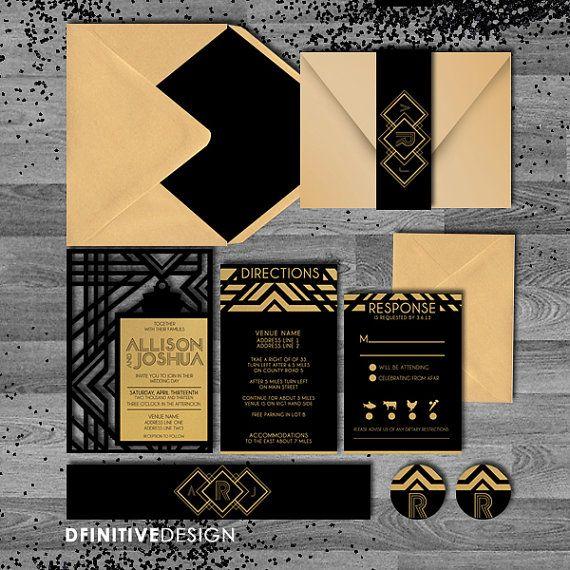 Carlson Craft Pocket Wedding Invitations: Art Deco Die Cut Black/Gold Gatsby/Art By DfinitiveDesign