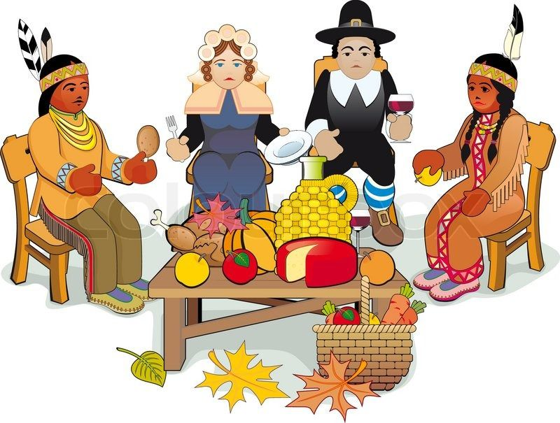 Stock vector of 'Illustration Thanksgiving Day. Pilgrims and Native American Couple'
