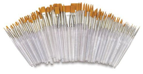 Royal Brush Waterproof Standard Golden Taklon Hair Acrylic Handle Paint Brush Combo Pack Assorted Size White Pa Paintbrush Set Royal Langnickel Art Materials