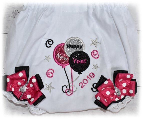 4bc0bac95de8 Baby girls 2019 new years bloomers, my first new years outfit, baby diaper  cover