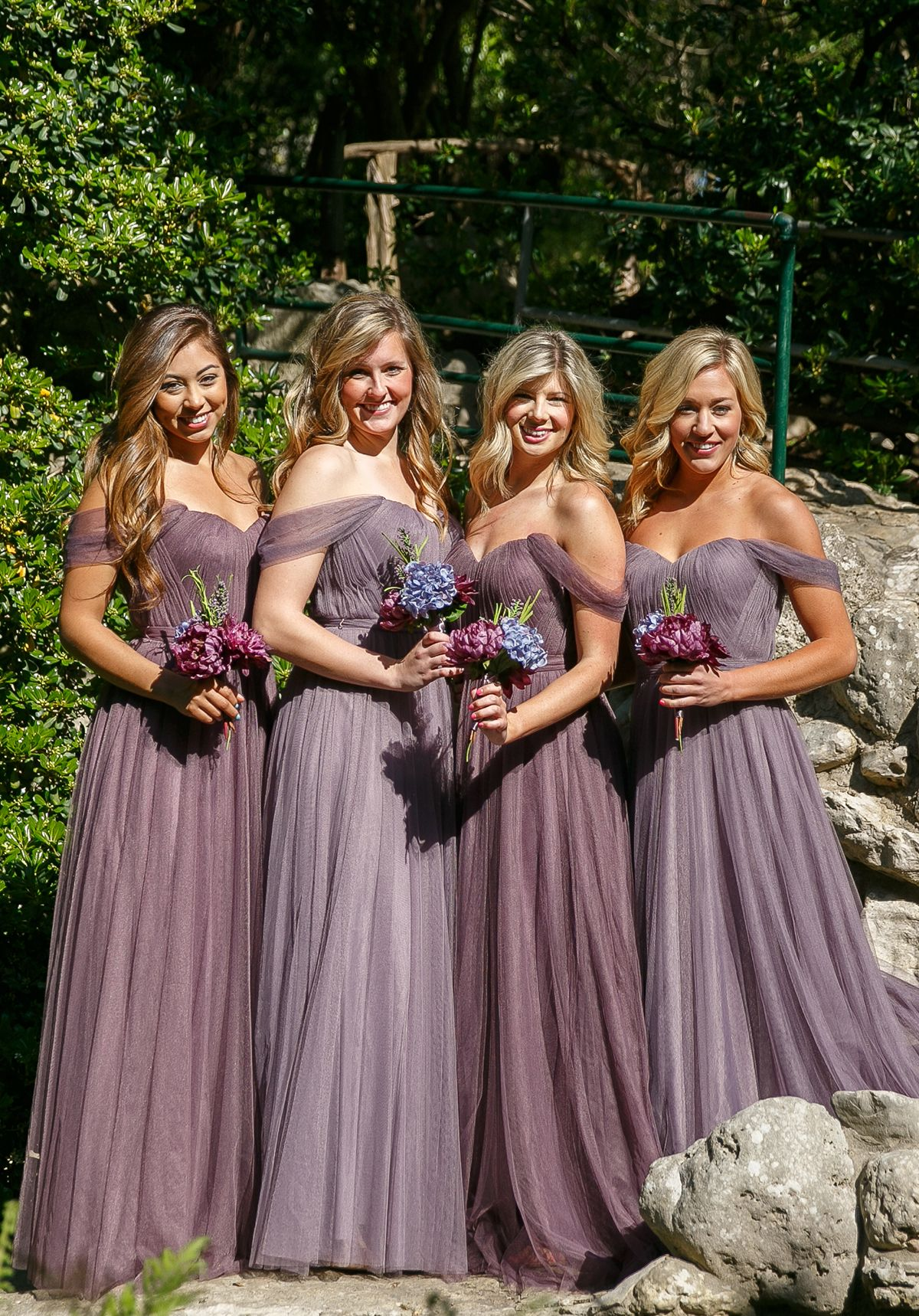 Ultra romantic off the shoulder purple bridesmaid dresses from  shoprevelry de22fc7801b2