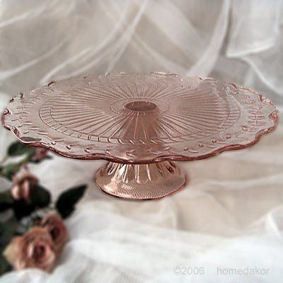 Colored Glass Cake Plates With Domes