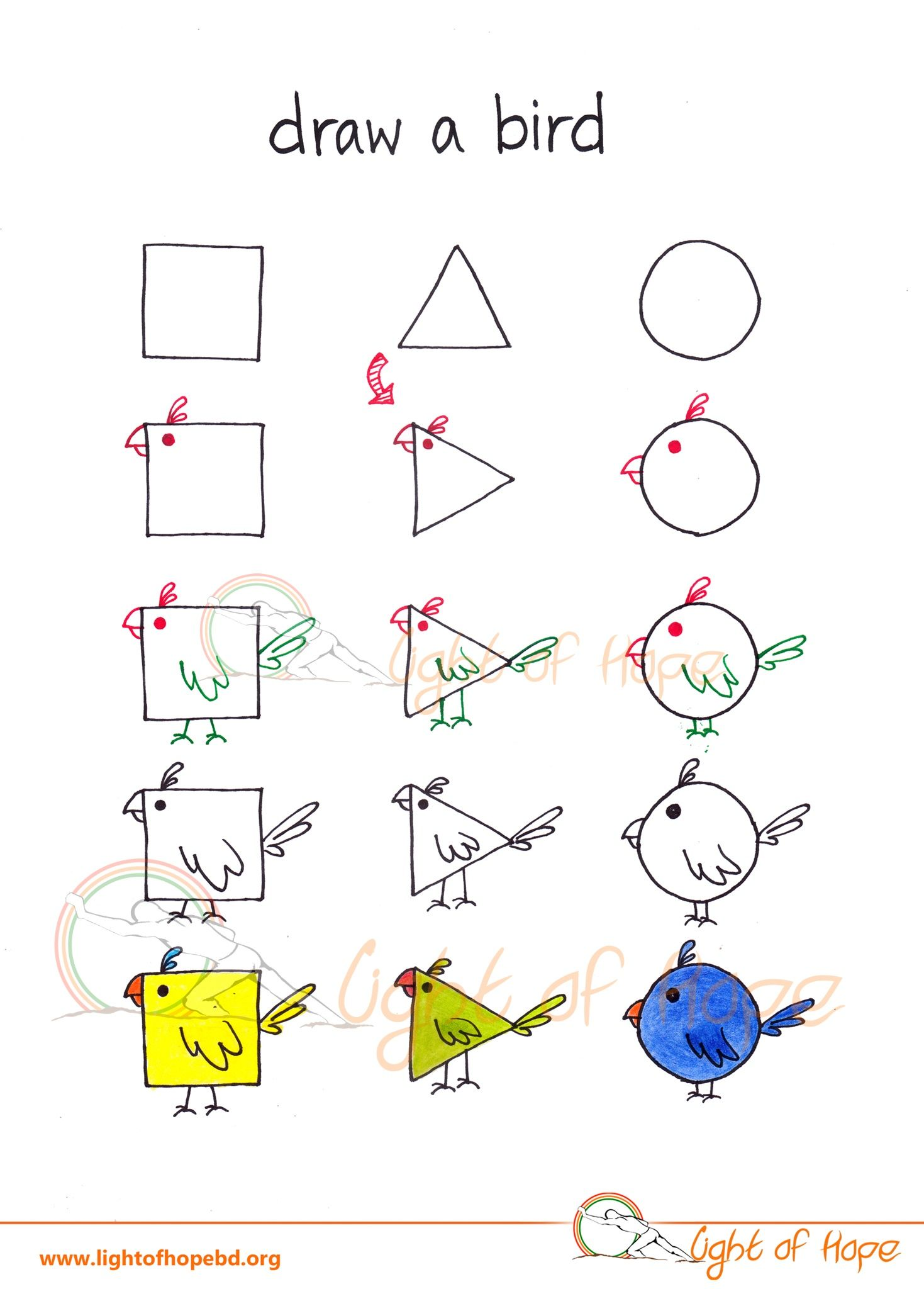 Draw A Bird From Basic Shape Get The Printable Whole