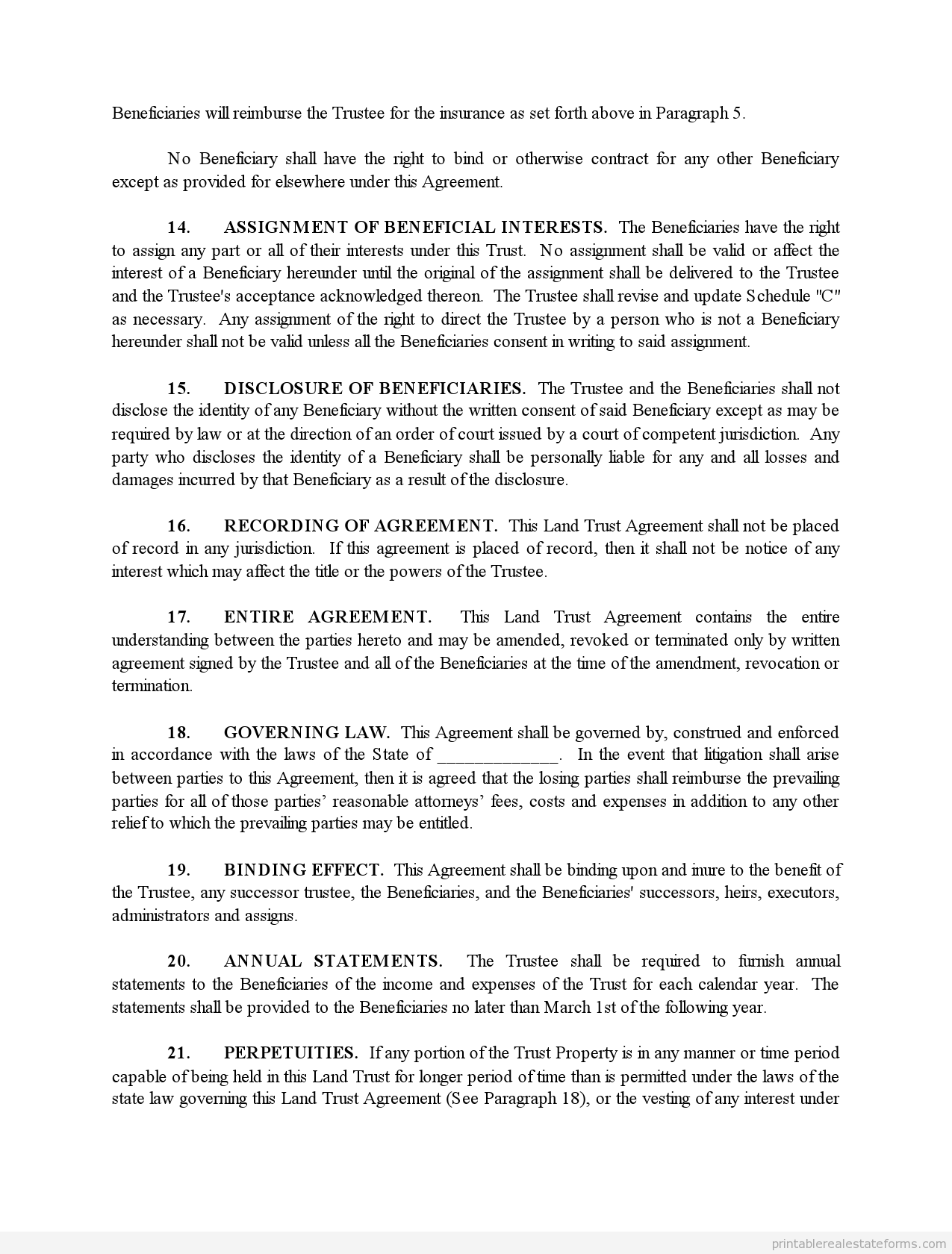 Sample Printable Land Trust Agreement Form Sample Real Estate