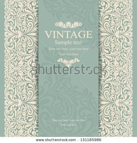 Invitation Cards In An Vintage Style Green By Nataliia