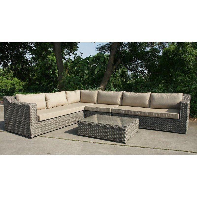 Buy Sectional Sofa In Dubai: Dubai Outdoor 5 Piece Wicker Lounge Set In Grey